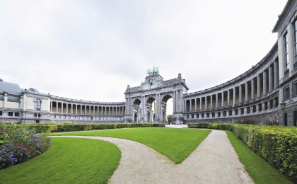 The Triumphal Arch in Cinquantennaire Parc in Brussels, Belgium in cloudy day